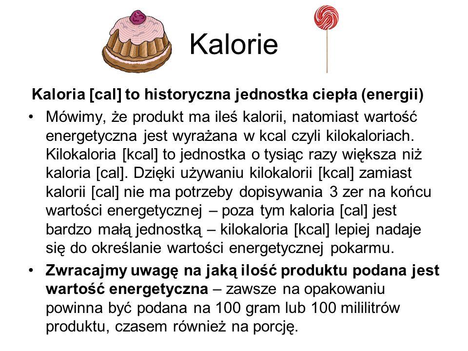 Kalorie Kaloria [cal] to historyczna jednostka ciepła (energii)